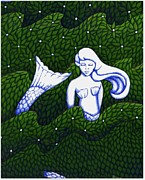 Donna Huntriss Metal Prints - Mermaid at the Garden Metal Print by Donna Huntriss