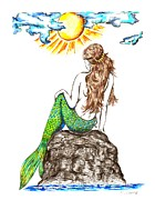 Mermaid Basking In The Sun Print by Karen Sirard