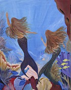 Caribbean Sea Paintings - Mermaid Dreams by Barbara Petersen