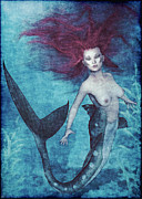 Floating Girl Posters - Mermaid Dreams Poster by Maynard Ellis