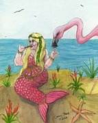 Serena Prints - Mermaid Flamingo Martine Cathy Peek Fantasy Art Print by Cathy Peek