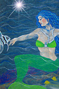 Fish Underwater Drawings - Mermaid Friends  by Karen Rightmyer Scoville