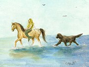 Newfoundland Art Paintings - Mermaid Horse Newfoundland Dog Surf Cathy Peek Art by Cathy Peek