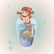 Goldfish Digital Art Prints - Mermaid In A Glass Print by Mellisa Ward