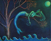 Rumi Paintings - Mermaid in a Tree by Alice Mason