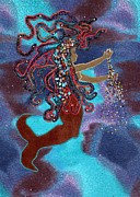 Yarn Tapestries - Textiles Posters - Mermaid Poster by Jean Baardsen