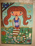 Featured Mixed Media Prints - Mermaid Loving Life Print by Yolanda Tamez