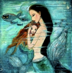 Blue Posters - Mermaid Mother and Child Poster by Shijun Munns