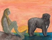 Newfoundland Art Paintings - Mermaid Newfoundland Dog Sunset Cathy Peek Art by Cathy Peek