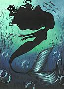 Silhouette Painting Originals - Mermaid Of The Deep Sea by Elaina  Wagner