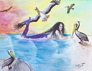 Serena Prints - Mermaid Pelicans Surf Beach Cathy Peek Art Print by Cathy Peek