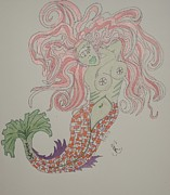 Rainbows Drawings Framed Prints - Mermaid Pin Up Framed Print by Carolina Campbell