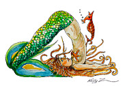 Plow Mixed Media Posters - Mermaid Plow Pose Poster by Kelly ZumBerge