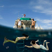 Angel Mermaids Ocean Photo Posters - Mermaid Sighting Poster by Paula Porterfield-Izzo