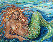 Linda Olsen Metal Prints - Mermaid Sleep 2 Metal Print by Linda Olsen