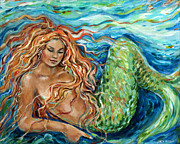 Linda Olsen Metal Prints - Mermaid sleep new Metal Print by Linda Olsen