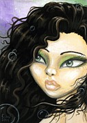 Aceo Metal Prints - Mermaid Tia Metal Print by Elaina  Wagner