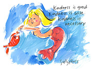Mermaid With Kindness Print by Sally Huss