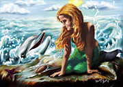Dolphin Digital Art Framed Prints - Mermaids Best Friend Framed Print by Kristy Blunt