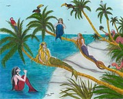 Turf Paintings - Mermaids Martini Palm Trees Birds Cathy Peek Art by Cathy Peek