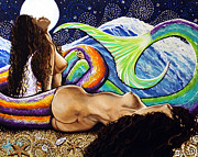 Women Together Prints - Mermaids Mystic Night Jackie Carpenter Print by Jackie Carpenter
