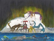Newfoundland Art Paintings - Mermaids Polar Bears Cathy Peek Fantasy Art by Cathy Peek