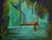 Waterfalls Paintings - Mermaids Relaxing Evening by Leslie Allen