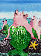 Alluring Painting Originals - Merpigs by Catherine G McElroy