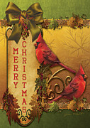 Cardinals Mixed Media - Merry Christmas-81312 by Jean Plout