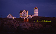Nubble Lighthouse Metal Prints - Merry Christmas At Nubble Metal Print by Skip Willits