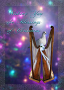 Edwards Digital Art - Merry Christmas Dove and Harps by J C Edwards