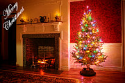 Merry Photos - Merry Christmas Fireplace by Olivier Le Queinec