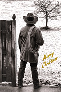 Christmas Greeting Metal Prints - Merry Christmas from Cowboy Country Metal Print by Olivier Le Queinec