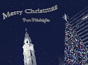 Snowy Night Prints - Merry Christmas from Philly Print by Photographic Arts And Design Studio