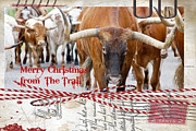 Longhorn Posters - Merry Christmas from The Trail Poster by Toni Hopper