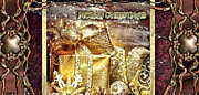 Jewels Digital Art Posters - Merry Christmas Gold Poster by Mo T