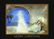Manger Posters - Merry Christmas Jesus Christ is Born Poster by Glenna McRae
