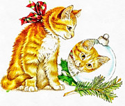 Joseph Frank Baraba Digital Art Prints - Merry Christmas Kitty Print by Joseph Frank Baraba