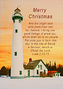 Michael Peychich - Merry Christmas Lighthouse at Sunrise