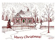 Christmas Card Drawings Framed Prints - Merry Christmas Framed Print by Lizi Beard-Ward