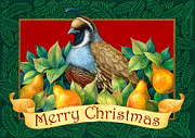 Pear Tree Painting Posters - Merry Christmas Partridge Poster by Randy Wollenmann