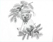 Pine Cones Drawings - Merry Christmas Puppy by Carolann Van de Ligt