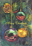 Christmas Card Drawings Posters - Merry Christmas Reflections The Card Poster by Carol Wisniewski