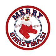 Boston Sox Prints - Merry Christmas Sox Stockings Red Boston Print by Nathanael Verrill