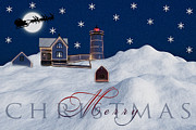 York Maine Prints - Merry Christmas Print by Susan Candelario