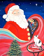 Christmas Eve Paintings - Merry Christmas to All by Phyllis Kaltenbach
