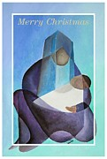 Saint Joseph Digital Art Framed Prints - Merry Christmas Virgin Mary And Child  Framed Print by Tracey Harrington-Simpson