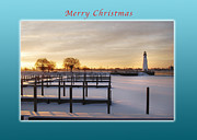 Michael Peychich - Merry Christmas Winter Marina and Lighthouse