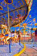 Road Trip Digital Art Framed Prints - Merry Go Around - a20130116 Framed Print by Wingsdomain Art and Photography