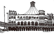 Monica Drawings Framed Prints - Merry Go Round Building SM Pier Framed Print by Robert Birkenes